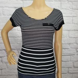Papaya Black and white stripe criss cross back top